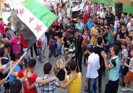 صورة عدسة شهبا برس   حلب – بستان القصر مظاهرة ثاني ايام عيد الفطر9\8\2013