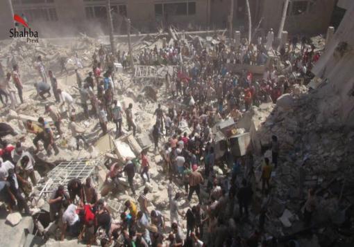 صورة عدسة شهبا برس في حي بستان القصر ترصد الدمار نتيجة قصف الطيران الحربي16/8/2013