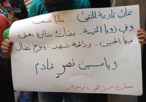 صورة ألبوم صور من مظاهرة حي بستان القصر – ليس بالكيماوي وحده يقتل الأسد أطفالنا –