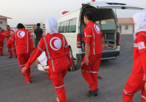 صورة الهلال الأحمر: إجلاء 1500 سوري من المعضمية غرب دمشق