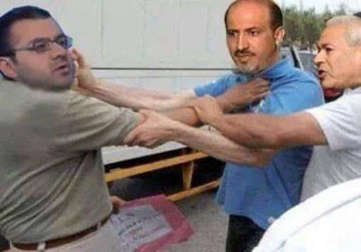 صورة سخرية و سخط السوريين من المعارضة الخارجية بعد لكمة الجربا للمقداد