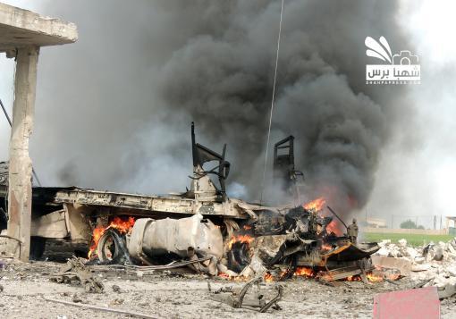 صورة البراميل المتفجرة تطال قرى و بلدات ريف حلب في مارع و حريتان و اعزاز