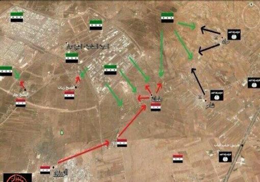 صورة تحرير اربع قرى و مقتل 17 عنصر من داعش  في ريف حلب الشرقي