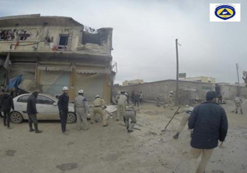 صورة طيران الأسد يقصف مدينتي الباب وتادف بريف حلب