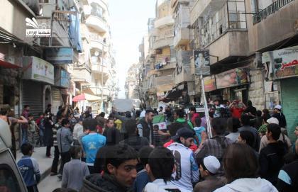صورة مظاهرات تنادي بإنقاذ دوما