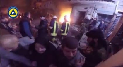 صورة خمسة شهداء في حي المشهد خلفه القصف الصاروخي أمس