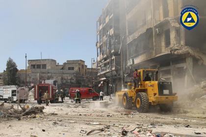 صورة طيران الأسد يرتكب مجزرة في باب الحديد بحلب