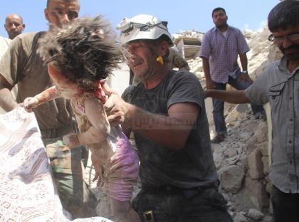 صورة طيران الأسد يرتكب مجزرة في بلدة أحرص شمال حلب