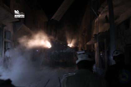 صورة الثوار يقتلون أكثر من عشرة عناصر في الحميدية وطيران الأسد يرتكب مجزرة بكرم البيك