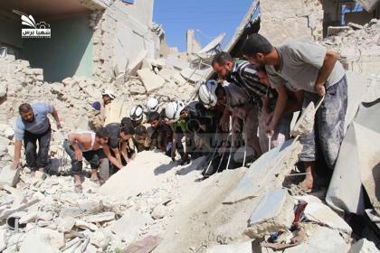 صورة مجزرة في حلب وقصف مدفعي على ريفها الشمالي