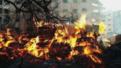 صورة قوات الأسد تستهدف داريا بالنابالم المحرم دولياً