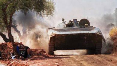 صورة الثوار يدمرون دبابة وآليات ثقيلة في الملاح لقوات الأسد والميليشيات