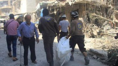 صورة خمسون شهيدا في حلب في قصف طيران الأسد وروسيا