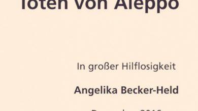 صورة سيدة ألمانية تنشر نعياً لشهداء حلب في صحيفة ألمانية .. هذا ما كتبته