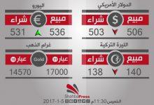 صورة أسعار العملات والذهب في محافظة حلب، يوم الخميس 5-1-2017