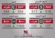 صورة أسعار العملات والذهب في محافظة حلب، يوم الأربعاء 25-1-2017