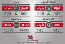 صورة أسعار العملات والذهب في محافظة حلب، يوم الأربعاء 15-2-2017