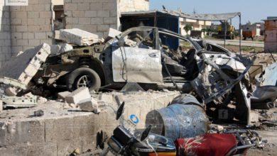 صورة قصف روسي يوقع مجزرة في خان شيخون