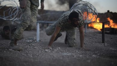 صورة تدريبات عسكرية للواء المعتصم استعدادا لإدارة مناطق بريف حلب الشمالي