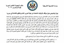 صورة واشنطن تنفي ما تداولته تقارير صحفية حول تحرير الشام