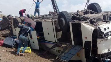 صورة قتلى وجرحى بانفجار عبوة ناسفة بحافلة للفيلق الخامس في درعا