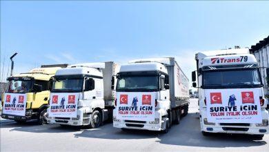 صورة قافلة مساعدات تنطلق من ولاية مرسين جنوب تركيا باتجاه سوريا